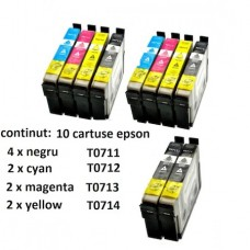Set 10 Cartuse, GraphiteK, Compatibile Epson T0711/0712/0713/0714