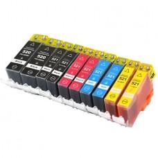 PGI520 Set 10 cartuse GraphiteK compatibile Canon PGI-520BK, CLI521BK, CLI521Y, CLI 521C, CLI521M
